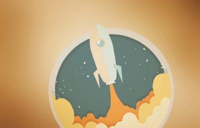 Gezeichnete Rakete fliegt ins Weltall. Steht für das Textbüro Textdealer aus Hamburg, welches auch einen Viral erstellte