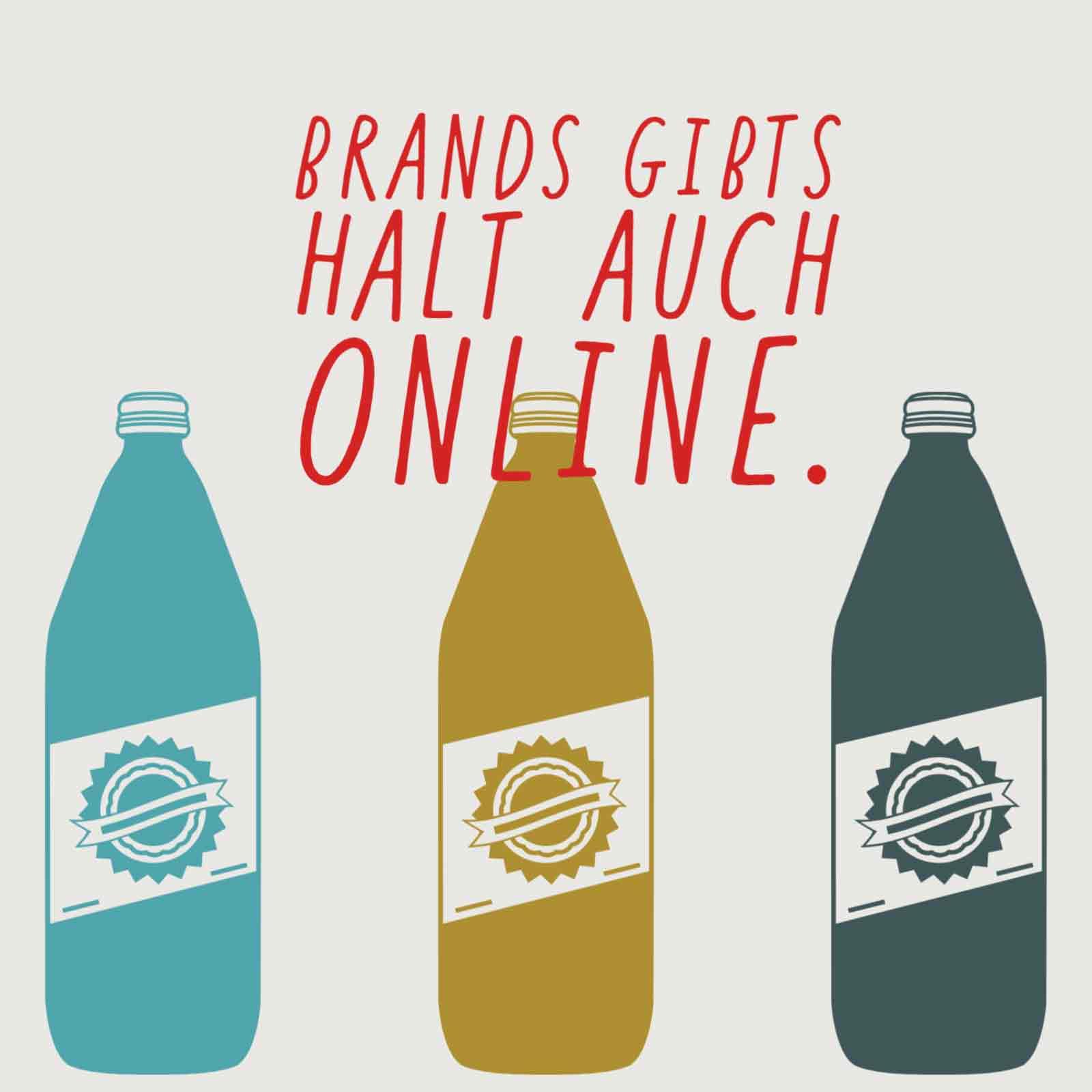 Abgebildet sind Flaschen einer Marke. Diese Stehen hier für Online Brands bzw. Online-Branding im Internet