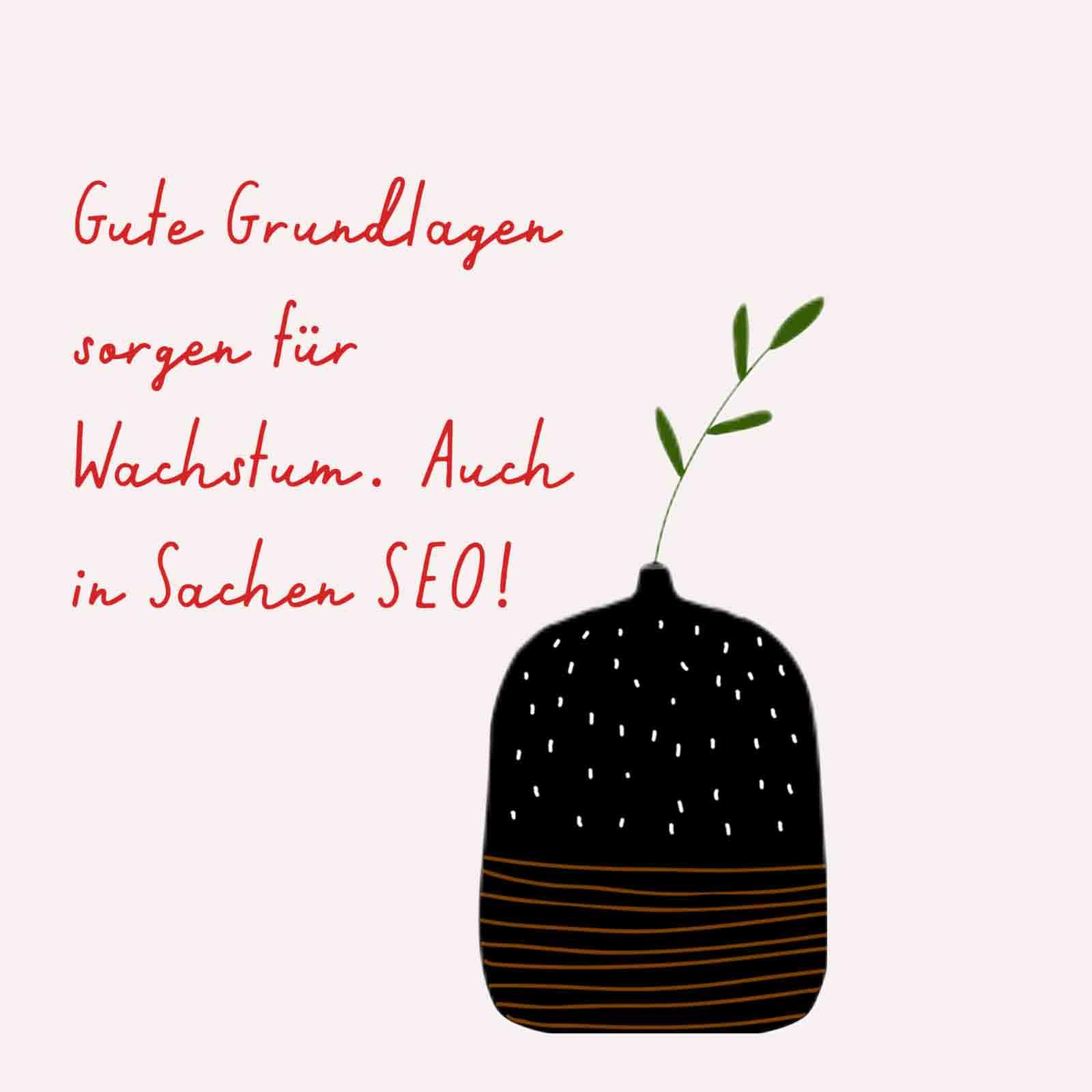 Eine gezeichnete Vase namens Google. Daneben stehen da noch Sätze mit mehr als einem Wort. Halt ein Text.