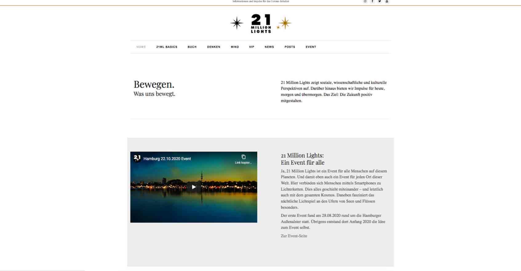 21 Million Lights Abendstimmung. Foto für Webdesign und Internetauftritt