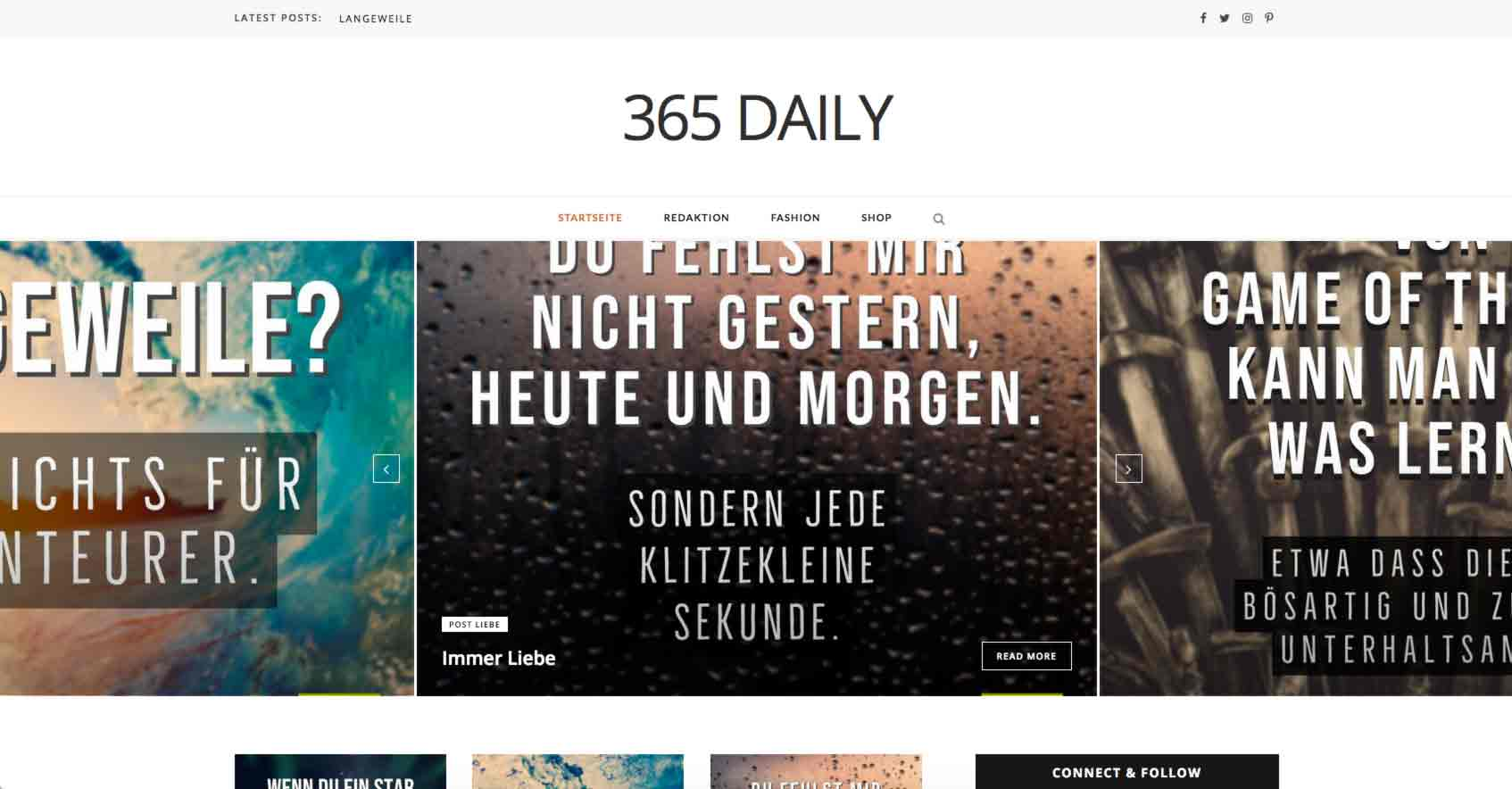 Screenshot vom der Internetseite und dem agressiven Webdesign 365 Daily. So sieht die Webpage 2021 aus