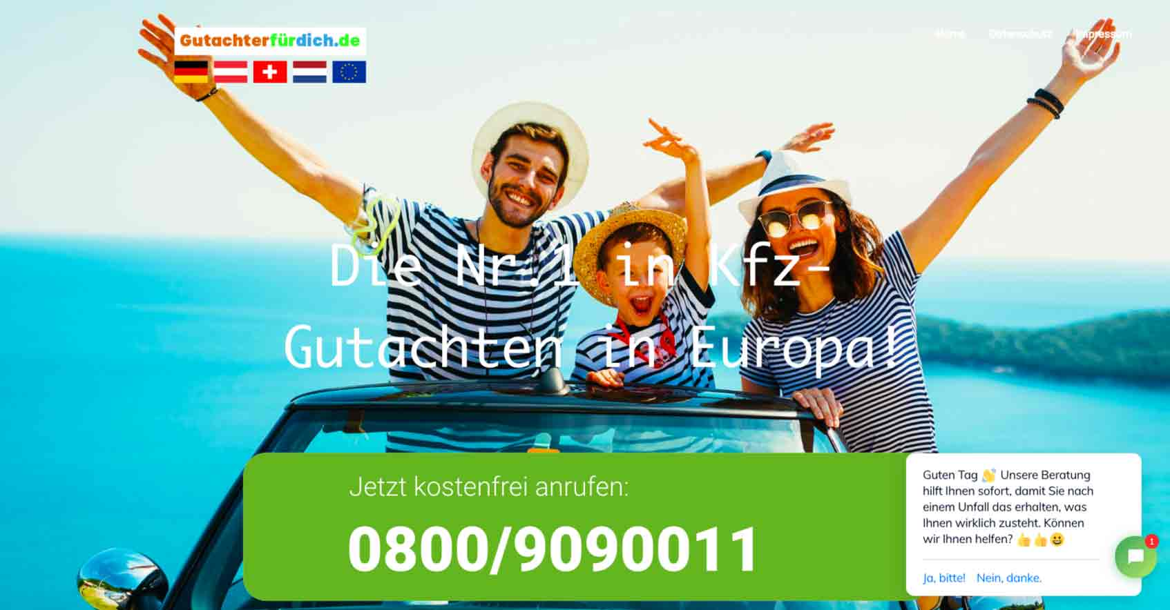 Screenshot von Internetauftritt und diesebbezüglichen Webseite bzw.Website und ihres Webdesign für den Gutachter Sercive. Im okus steht das Webdesign