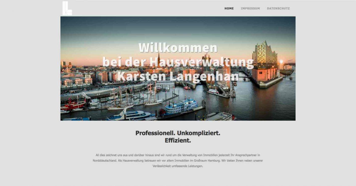 Hausverwaltung –Screenshot der Webseite mit ihrem überzeugenden Webdesign