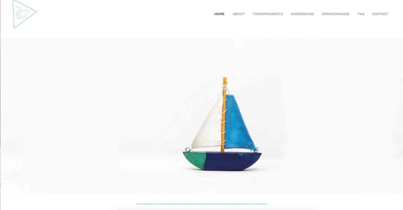 Screenshot von der Webpage bzw. Webseite der psychologischen Praxis, sehr dezentes Webdesign